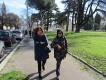 La prof.ssa Luciana Capozza e la funzionaria comunale Paola Lomuscio lasciano san Pietro in Montorio e l'area sacra