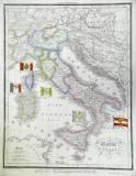 La cartina geografica dell'Italia prima dell'Unità