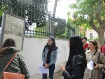 Anche Francesca è lanciata , e al pannello VILLA SPADA racconta la difesa dei bersaglieri lombardi e la morte di Manara