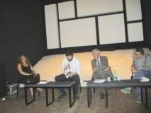 La conferenza inizia: da sinistra Mara Minasi, Marco Valerio Solia, Enrico Luciani, Agostino Bistarelliv