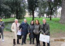 Foto ricordo per Enrico Luciani, Paolo Asta, Ortensia Lupinacci, Roberta Palomba, Giacomo Bucolo, sui luoghi dei combattimenti del 3 giugno 1849