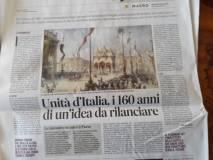 Messaggero : Mario Ajello- Unità d'Italia, i 160 anni di un'idea da rilanciare