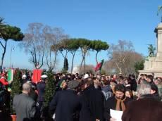 PIAZZALE GARIBALDI installazione PANNELLO 9 (Il Gianicolo e la Repubblica Romana): la folla