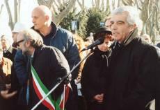 PIAZZALE GARIBALDI installazione PANNELLO 9 (Il Gianicolo e la Repubblica Romana): alla manifestazione è presente anche l'assessore ai Trasporti del Comune di Roma, Mario Di Carlo