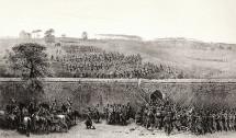 L'esercito francese attacca Villa Pamphilj, la breccia del 3 Giugno 1849. Litografia di Denis-Auguste-Marie Raffet da: Souvenirs d'Italie, expedition de Rome, s.d., tav. 15