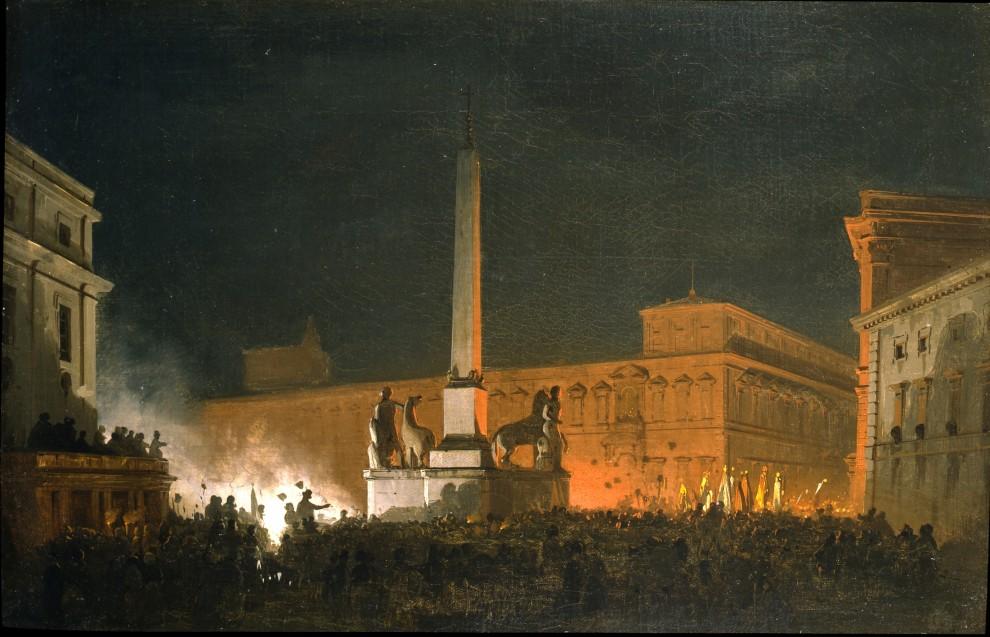 Ippolito Caffi (1809-1866) Benedizione notturna di Pio IX dal Quirinale  Galleria Apolloni