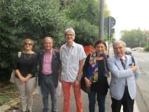 gruppo folto: da sinistra, prof.ssa Margherita Viscogliosi, Massimo Capoccetti, prof. Claudio  Marchesano, prof.ssa Stefania Lombardo, Enrico Luciani