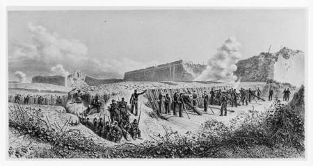 La posizione della batteria francese N°14 ai piedi del bastione 7 già occupato, oggi  corrisponde alla zona di Via Giovanni Livraghi, nel tratto più vicino alle mura