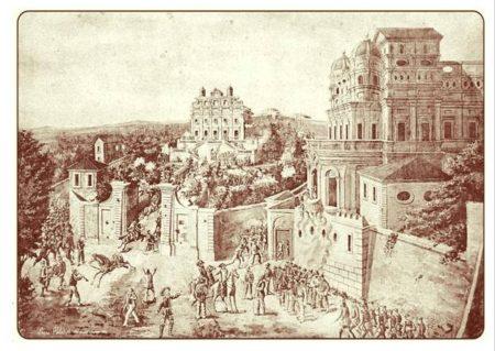 L: PALLADINI: VEDUTA DELLA VILLA GIRAUD DETTA IL VASCELLO E DELLA VILLA CORSINI DETTA IL CASINO DEI QUATTRO VENTI, FUORI PORTA A SAN PANCRAZIO, ROMA 3 GIUGNO 1849 (MCRR)