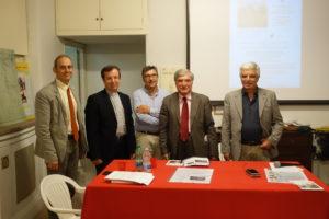 Foto ricordo: (da sinistra) Antonio Bultrini, Filippo Lovison, Agostino Bistarelli, Enrico Luciani, Giuseppe Monsagrati