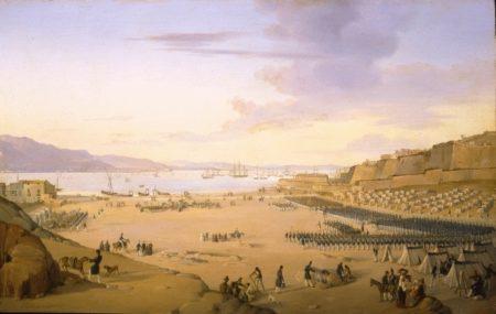 Franz Vervloet (1795-1872) - Sbarco a Gaeta della spedizione spagnola (proprietà Galleria Apolloni)