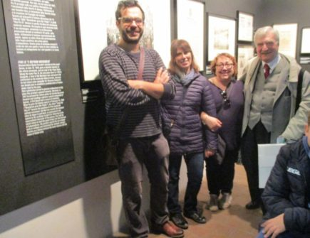 Da sinistra il prof. Paolo Gerbaudo di Cuneo, professore a Londra, le prof. Elisabetta Puce, Claudia Sotgiu ed Enrico Luciani