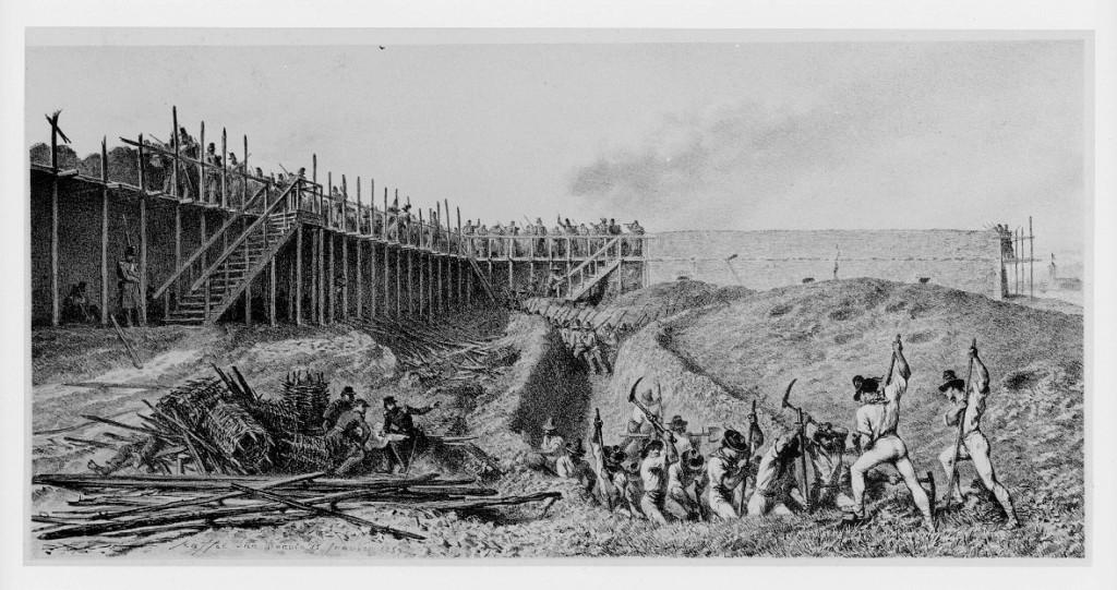 Bastione settimo visto dall'interno (ora c'è il terrapieno) Viene costruita una impalcatura per il cammino di ronda, e una squadra di civili sta scavando una trincea.