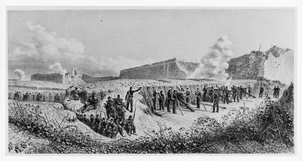 Bastione settimo visto dall'esterno (attuale Via Livraghi). Siamo di fronte alla breccia del settimo e i francesi stanno sparando sull'ottavo bastione.