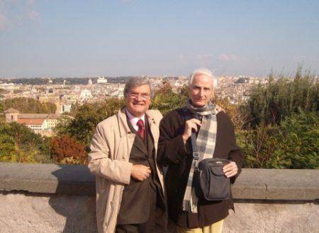 Enrico Luciani e Cesare Balzarro al Gianicolo, nel 2000 al vecchio Belvedere
