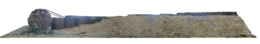 Trincea in costruzione vista dalla parte degli assediati (elaborazione grafica)