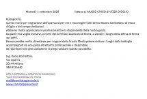 lettera di ringraziamento e l'invito al Gianicolo